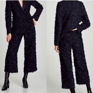 Zara Woman Wide Leg Textured Feather Crop Pants XS